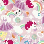 Timeless Treasures - Fun - Cats Unicorn Rainbows in Pink