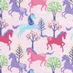 Timeless Treasures - Novelty - Glitter Horses in Pink